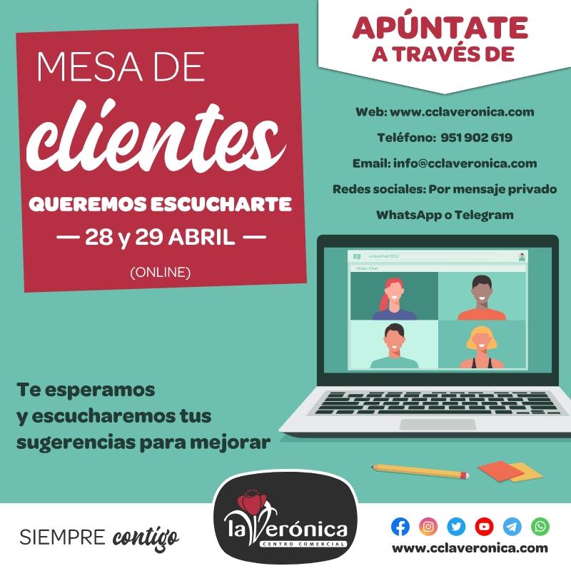 Mesa de clientes Abril, Centro Comercial la Verónica