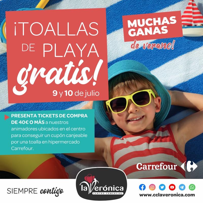 Toalla gratis Carrefour, Centro Comercial la Verónica